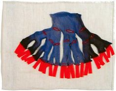 Louise Bourgeois, Page from Ode â l'Oubli (Ode to Forgetfulness) (detail), 2004, Hand-sewn and constructed cloth with lithography and digital printing, 10 3/4 x 13 1/4 inches bound book, Courtesy Peter Blum Gallery