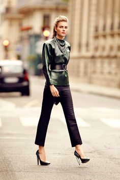 jewelweed green leather / eggplant trousers / #streetstyle / #MIZUstyle