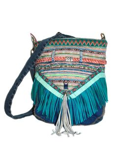 Bohemian OOAK bag with fringe in turquoise, pink and blue jeans - handmade unique shoulder bag in Ibiza style - Native American inspired