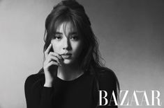 Son Dam Bi is a refined beauty in a black-and-white pictorial for 'Harper's Bazaar' Korean Beauty, Asian Beauty, Korean Hairstyle Long, Collar Tips, Asian Hair, Harpers Bazaar, Pop Fashion, Wavy Hair, Pretty Hairstyles