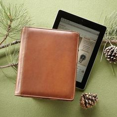 THE CASE OF THE WELL-DRESSED IPAD -- Professor Plum in the study with the iPad… A handcrafted portfolio of natural leather transforms a current technology favorite into a killer classic. Magnetic snap closure. Sized for original iPad.