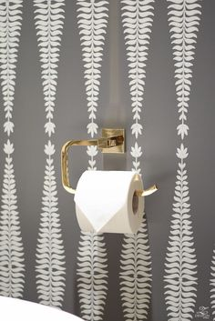 7 Tips for Designing a Beautiful Powder Bath + Reveal brass toilet paper holder bath fixtures Beautifully decorated powder room with schumacher fern tree wallpaper in graphite Powder Room Wallpaper, Tree Wallpaper, Bathroom Wallpaper, Painting Wallpaper, Wallpaper Wallpapers, Brass Toilet Paper Holder, Stencil, Small Bathtub, Bath Fixtures