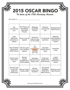 Printable Oscar Bingo for your Academy Awards party!