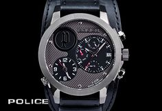 A black leather chronograph from Police. Mens Watches Online, Watches For Men, Men's Watches, Stylish Watches, Chronograph, Police, Black Leather, Mens Fashion, Stuff To Buy