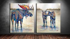 """Moose Gathering is a contemporary western wildlife diptych painting of a colorful bull moose, & two moose calves, drinking, by World Renowned Contemporary Wildlife Artist Teshia. """"Moose Gathering"""" Original 60""""x96"""" (Diptych) Acrylic on Canvas Painting - SOLD """"Moose Gathering"""" Fine Art Prints Available (in many sizes and styles)"""