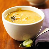 Flavored with pumpkin and coconut milk, this super fast soup is ready in 15 minutes.