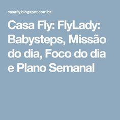 Casa Fly: FlyLady: Babysteps, Missão do dia, Foco do dia e Plano Semanal