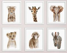 Safari Nursery Decor Set of 4 Safari Animal Prints by AnimArtPrint