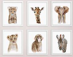 Baby Animal Prints Safari Nursery Art Print Set by TinyToesDesign
