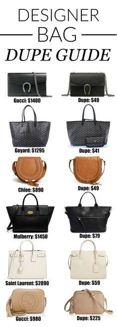These are basically identical OMG. | Fashion blogger Mash Elle shares a complete designer bag dupe guide! Affordable designer bag dupes for Chloe, Gucci, Goyard, Gucci, Prada, Chanel, Clare V, Saint Laurent, Valentino, Fendi, Burberry, Givenchy and Mulberry!