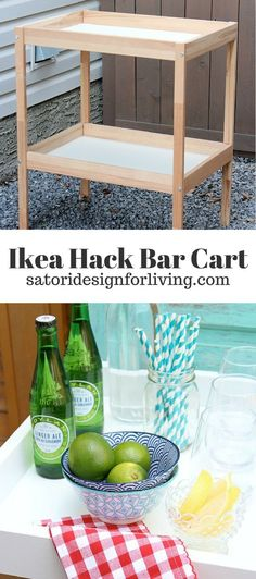 Come see how to transform this thrifted Ikea baby change table into a bar cart for outdoor entertaining! #diybarcart #IKEAhack