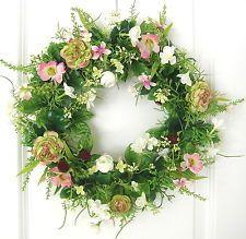 Türkranz Frühling weiß rosa Tischkranz Ostern Blumenkranz 36cm Kranz Hochzeit Floral Wreath, Wreaths, Tricks, Home Decor, Pink, Easter Activities, Summer, Table, Dekoration