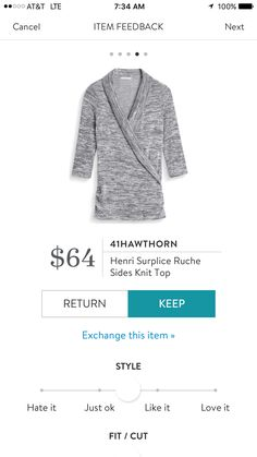 Dear Stitch Fix Stylist - i can see this 41Hawthorn Henri Surplice Ruche Sides Knit Top in my weekend future!