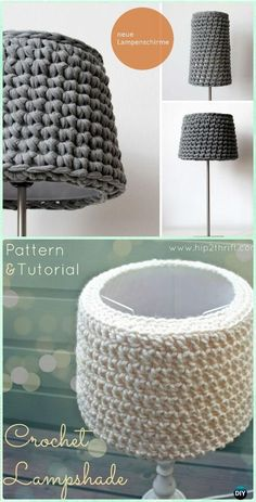 Crochet Simple Lampshade Free Pattern - Crochet Lamp Shade Free Patterns I already have one knitted, this is to try ! Lampe Crochet, Crochet Lampshade, Crochet Fabric, Crochet Motifs, Crochet Stitches, Free Crochet, Knit Crochet, Crochet Patterns, Diy Lampshade