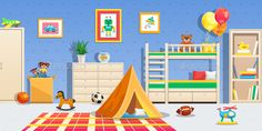 Buy Children Room Interior Horizontal Illustration by macrovector on GraphicRiver. Children room interior with white furniture sports balls tent and colorful toys horizontal flat vector illustration Messy Bedroom, Kids Bedroom, Sala Oriental, Toy Rooms, White Furniture, Interior Design Living Room, Ideas, Backgrounds, Vector Freepik