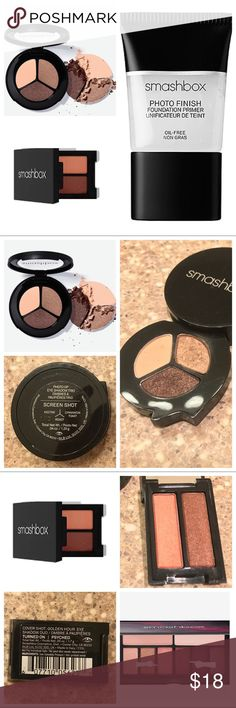 Smashbox Bundle This is a bundle of travel sized smashbox items. Included in the bundle is: -Smashbox photo finish foundation primer used a couple of times (travel size 0.5 oz) -Smashbox photo op eyeshadow trio in Screen Shot, includes the colors nectar, roast, and cinnamon toast. Used on a couple of brides. Has been sanitized. These blend and wear beautifully. -Smashbox cover shot golden hour eye duo, it has the colors turned on and psyched from the golden hour palette, swatched & sanitized…