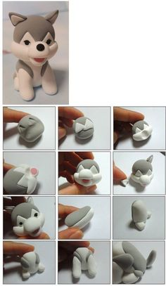 Tutoriel : Comment faire un chien kawaii en Fimo - How to make a kawaii dog in Fimo - do Diy Fimo, Crea Fimo, Fimo Clay, Polymer Clay Charms, Polymer Clay Projects, Polymer Clay Creations, Clay Crafts, Fondant Animals, Fondant Dog