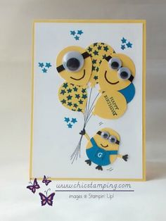 Minion birthday card using the Balloon Bouquet and Owl Builder Punch. In Canada get Stampin' Up! products at tracyelsom. Minion Birthday Card, Birthday Cards For Boys, Bday Cards, Happy Birthday Cards, Diy Birthday, Birthday Greeting Cards Handmade, Hand Made Greeting Cards, Birthday Design, Homemade Birthday Cards