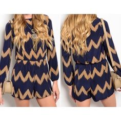 "Chevron print romper Sz small Super cute navy and tan zig zag romper   small   Sz small bust 32 Waist 28-30 Hips 36  Sz medium bust 34 Waist 30-32 Hips 38  Sz large bust 36  Waist 32-34  Hips 40   Girth 27. Length from armpit down 21"" sleeve 16""  NWOT Excellent quality   100 % polyester   zip back Boutique label Pants Jumpsuits & Rompers"