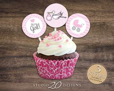 """Instant Download 2"""" Pink Girl Stork Cupcake Toppers, Stroller Baby Showre Cupcake Toppers, It's a Boy Tags by Studio20Designs (3 designs included) $1.75"""