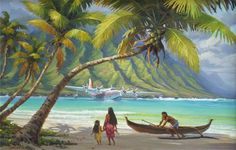 Surf Art: James Finch's Polynesian Sunday, a beautiful impressionist painting, is a Signed & Numbered Limited Edition onto archival canvas utilizing the Giclee imaging process using archival inks. Polynesian Art, Honfleur, Island Pictures, Tiki Art, Atelier D Art, Caribbean Art, Hawaiian Art, Tropical Art, Le Havre