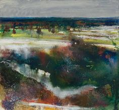 A dusting of snow. Cliveden Reach by Kurt Jackson Mixed media on paper