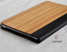 Natural bamboo and Leather iPad mini case Wood iPad by GOODWOODEN