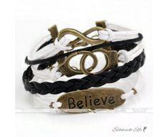 Armband BELIEVE  & Freedom schwarz weiß  im Organza Beutel