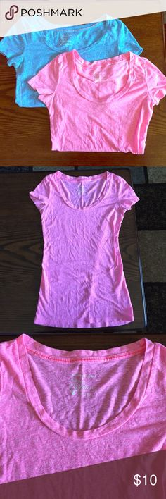 AE Scoop Neck Tees Two AE scoop neck tees, worn a bit but in good condition. One blue and one pink tee. Price is for both. American Eagle Outfitters Tops Tees - Short Sleeve