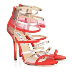 Jimmy Choo - Maitai - - Flame Suede and Metallic Leather Sandals - . Jimmy Choo - Maitai - - Flame Suede and Metallic Leat I Love My Shoes, Me Too Shoes, Red Pumps, Pumps Heels, Hot Heels, Flats, Stylo Shoes, Strappy High Heels, Strappy Sandals