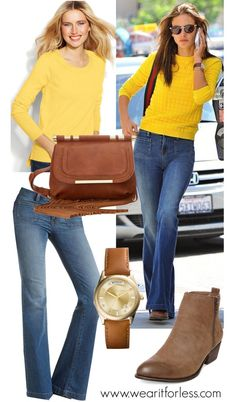 Alessandra Ambrosio in a yellow sweater and flared jeans in Los Angeles - get her look for less!