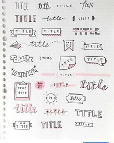 Pin by Leo Wauwi on bullet journal Bullet Journal School, Creating A Bullet Journal, Bullet Journal Headers, Bullet Journal Banner, Bullet Journal Writing, Bullet Journal Aesthetic, Bullet Journal Cursive, Lettering Tutorial, Hand Lettering