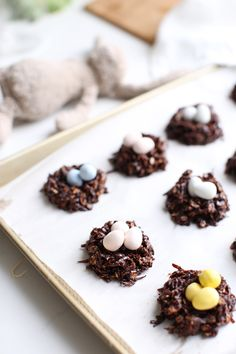 Healthy Chocolate Haystack Cookies that are naturally sweetened, vegan and gluten free. They also make adorable 'nests' for mini chocolate eggs for Easter!