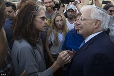 Newly arrived Ambassador to Israel David Friedman speaks with Aerosmith singer Steven Tyler at the Western Wall, the holiest site where Jews can pray in Jerusalem's Old City, Monday, May (AP Photo/Sebastian Scheiner) Western Wall, Separate Ways, Thing 1, Steven Tyler, New Uses, Rock Legends, The Rock, Westerns, Rock