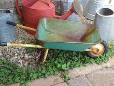 Vintage Child's Size Metal Wheel Barrow  Garden by thesummerplace, $58.00