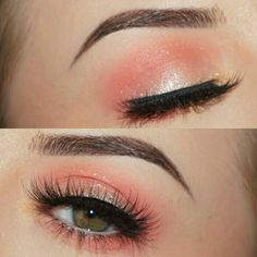 With a hint of yellow in the center......Like the colourpop pink and yellow makeup collection/look