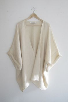 // Ivory Woven Herringbone Kimono Cardigan