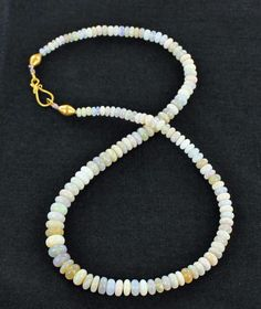 18K GOLD AUSTRALIAN OPAL NECKLACE RONDELLES