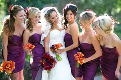 Purple Bridesmaids Dresses | Purple + Orange Wedding | San Diego Wedding Planner Swann Soirees | Sara France Photography