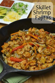 Skillet Shrimp Fajitas - Since I'm cheap, I never pay the extra $3-5 for shrimp fajitas when we are out to eat. Instead I buy a pound of shrimp and make them at home.