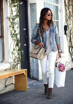 denim jacket, simple tee and white skinnies