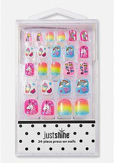 Just Shine Rainbow Unicorn Press-On Nail Set Nails Nail Polish Sets & Nail Art For Girls Fake Nails For Kids, Nail Art For Girls, Toys For Girls, Unicorn Nails, Unicorn Makeup, Nail Polish Sets, Nail Set, Cute Nails, Pretty Nails