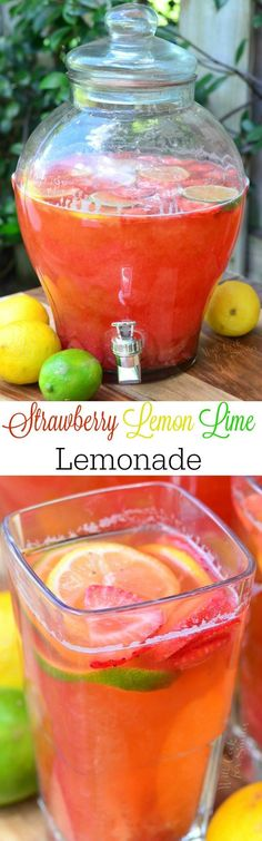 Homemade Strawberry Lemon Lime Lemonade