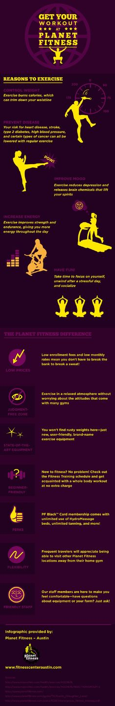 A judgment free zone is a must for anyone who wants to start working out! That is why Planet Fitness is the best choice for people of all ages. Find more details about the benefits of choosing Planet Fitness on this infographic. Planet Fitness Workout Plan, Fitness Diet, Fitness Motivation, Health Fitness, Fit Board Workouts, At Home Workouts, Fitness Infographic, Health Infographics, Girl Sweat