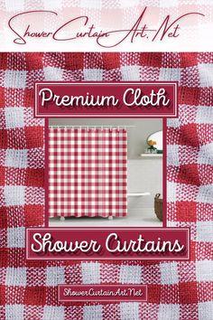 Drastically enhance your bathroom decor with a soft & stylish fabric shower curtain from Shower Curtain Art. Shower Curtain Art, Modern Shower Curtains, Fabric Shower Curtains, Bathroom Shower Curtains, Gingham Curtains, Gingham Fabric, Red Gingham, Custom Fabric, Vibrant Colors