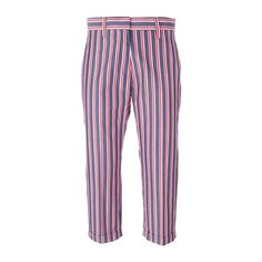 ALBERTO BIANI Striped Trousers (755 RON) ❤ liked on Polyvore featuring pants, multi, cotton trousers, alberto biani, cotton pants, blue trousers and red trousers
