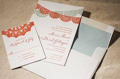 Stunning in Spain, bright Barcelona letterpress wedding invitation by Bella Figura