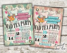 Boys Girls Alice in Wonderland Birthday Invitation - Any Age - Printable Invite - Tea Party  - White Rabbit - Queen of Hearts - Mad Hatter by SweetBeeTeaBoutique on Etsy https://www.etsy.com/listing/225180187/boys-girls-alice-in-wonderland-birthday