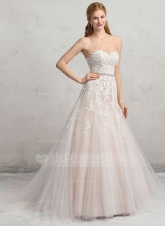[US$ 199.99] Ball-Gown Sweetheart Chapel Train Tulle Lace Wedding Dress With Beading Sequins