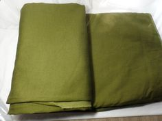"""Vintage Rayon Polyester Blend Olive Green Fabric 194"""" x 56"""" 